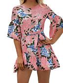 tanie Sukienki-Damskie Podstawowy / Moda miejska Szczupła Spodnie - Kwiaty Odkryte plecy Rumiany róż / Mini / Wyjściowe