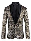 cheap Men's Blazers & Suits-Men's Party / Holiday / Club Vintage Spring &  Fall Regular Blazer, Geometric V Neck Long Sleeve Cotton / Polyester Jacquard Silver XXXL / 4XL / XXXXXL
