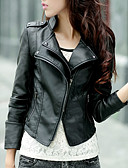 cheap Women's Leather & Faux Leather Jackets-Women's Daily Short Leather Jacket, Solid Colored Stand Long Sleeve Polyester Black L / XL / XXL
