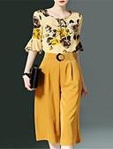 povoljno Ženski dvodijelni kostimi-Žene Osnovni Bluza / Set - Jednobojni, Print / Wide Leg Hlače / flare rukav / Cvjetni print