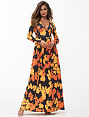 tanie Sukienki maxi-Damskie Moda miejska / Wyrafinowany styl Luźna Spodnie - Geometric Shape / Kolorowy blok Nadruk Czarny / Maxi / W serek / Wyjściowe / Seksowny