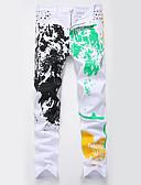זול טישרטים לגופיות לגברים-בגדי ריקוד גברים מידות גדולות כותנה רזה ג'ינסים מכנסיים - גיאומטרי לבן / ספורט / אביב / קיץ
