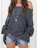cheap Women's Sweaters-Women's Daily / Going out Solid Colored Long Sleeve Loose Long Pullover, Off Shoulder Gray / Wine / Khaki XXXL / 4XL / XXXXXL