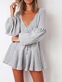 billige Lang Kjole Sweater-Dame I-byen-tøj Lanterne Ærme Strik Kjole - Ensfarvet Mini Dyb V