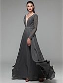 cheap Evening Dresses-A-Line Plunging Neck Floor Length Chiffon Open Back Dress with Beading / Sash / Ribbon by TS Couture®