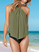 cheap Women's Swimwear & Bikinis-Women's Basic Halter Neck Wine Army Green Khaki Bandeau Cheeky Tankini Swimwear - Solid Colored / Color Block Backless / Ruffle M L XL / Sexy