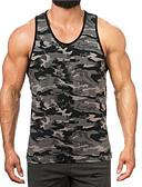 זול טישרטים לגופיות לגברים-קולור בלוק בסיסי כותנה, עליונית טנק - בגדי ריקוד גברים דפוס / ללא שרוולים