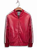 cheap Men's Jackets & Coats-Men's Sports Spring Regular Leather Jacket, Solid Colored Stand Long Sleeve PU Black / Red XL / XXL / XXXL