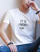 Χαμηλού Κόστους Ανδρικά μπλουζάκια και φανελάκια-Ανδρικά Μεγάλα Μεγέθη T-shirt Βαμβάκι Γράμμα Στρογγυλή Λαιμόκοψη / Κοντομάνικο