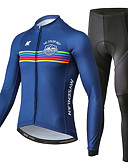 cheap Men's Jackets & Coats-Mysenlan Men's Long Sleeve Cycling Jersey with Tights - Dark Blue Bike Clothing Suit Polyester, Spandex Horizontal Strips