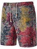 ieftine Pantaloni Bărbați si Pantaloni Scurți-Bărbați De Bază Pantaloni Scurți Pantaloni Mată / Floral Albastru & Alb