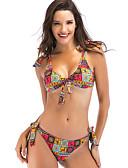 abordables Biquinis y Bañadores para Mujer-Mujer Bikini - Acordonado, Geométrico / Arco iris Con cordones
