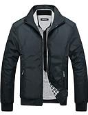 preiswerte Herren Polo Shirts-Herrn Sport Winter Standard Jacke, Solide Ständer Langarm Polyester Blau / Grün / Schwarz L / XL / XXL
