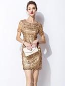 baratos Vestidos Femininos-Mulheres Básico / Elegante Bainha Vestido Sólido Acima do Joelho