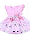 お買い得  女児 ドレス-赤ちゃん 女の子 ストリートファッション プリント ノースリーブ コットン ドレス ピンク / 幼児