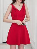 tanie Sukienki-Damskie Szczupła Spodnie Wysoka talia Czerwony / Mini / Głęboki dekolt w serek / Wyjściowe / Super seksowny