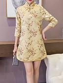 tanie Sukienki-Damskie Wzornictwo chińskie Koszula Sukienka - Kwiaty Przed kolano