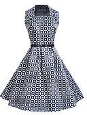 tanie W stylu vintage-Damskie Vintage / Elegancja Bawełna Szczupła Spodnie - Geometric Shape Nadruk Niebieski / Kwadratowy dekolt / Wyjściowe