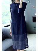 cheap Women's Dresses-Women's Plus Size Daily Sweater Dress - Color Block Blue Wine XL XXL XXXL