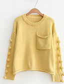 cheap Women's Sweaters-Women's Going out Solid Colored Long Sleeve Regular Pullover, Round Neck Pink / Beige / Yellow One-Size