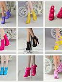 olcso Dresses For Date-Lolita hercegnő / aranyos stílus Cipők 9 pcs mert Barbie baba Fekete PVC Cipők mert Lány Doll Toy
