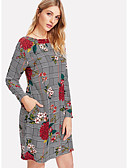 cheap Print Dresses-Women's Daily Sheath Dress - Floral Gray M L XL