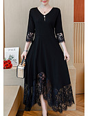 tanie Print Dresses-Damskie Puszysta Linia A Sukienka - Solidne kolory, Koronkowe wykończenie W serek Maxi Czarny