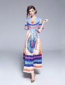 tanie Sukienki-Damskie Podstawowy Swing Sukienka - Geometric Shape, Wiązanie Półgolf Maxi / Lato