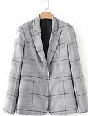 ieftine Curele la Modă-Pentru femei Muncă Regular Blazer, Dungi Stand Manșon Lung Poliester Gri S / M / L
