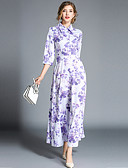 ieftine Rochii Maxi-Pentru femei Șic Stradă / Elegant Swing Rochie - Imprimeu, Floral Maxi