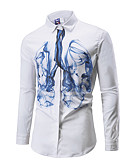 tanie Męskie koszule-Koszula Męskie Moda miejska, Nadruk Geometric Shape Niebiesko-biały