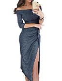رخيصةأون فساتين للنساء-نسائي مثيرة نحيل بنطلون - لون سادة منفصل أسود / دون الكتف / مناسب للخارج