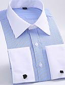 お買い得  メンズシャツ-男性用 ワーク シャツ ビジネス / ベーシック レギュラーカラー ストライプ パープル XXXXL / 長袖