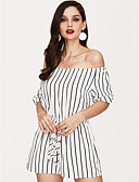 cheap Women's Jumpsuits & Rompers-Women's Holiday / Going out / Club Active / Street chic Romper - Striped Wide Leg Boat Neck / Summer / Fall / Beach