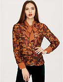 ieftine Bluze & Camisole Femei-Pentru femei În V Bluză Ieșire Șic Stradă - Floral Funde / Primăvară