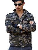 זול גברים-ג'קטים ומעילים-בגדי ריקוד גברים ירוק צבא XXL XXXL 4XL ג'קט Military עכשווי עומד / שרוול ארוך