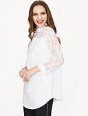 abordables Blusas para Mujer-Mujer Básico / Chic de Calle Festivos Algodón Blusa, Escote en Pico Corte Ancho Un Color / Verano