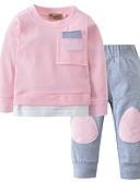 זול סטים של ביגוד לתינוקות-סט של בגדים כותנה שרוול ארוך טלאים אחיד יום יומי בנות תִינוֹק / פעוטות