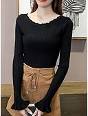 olcso Női pulóverek-Női Extra méret Hosszú ujj Vékony Pulóver Egyszínű