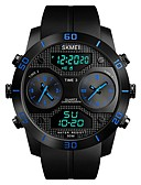 cheap Sport Watches-SKMEI Men's Sport Watch Digital Watch Digital 50 m Water Resistant / Water Proof Calendar / date / day Three Time Zones PU Band Analog Luxury Fashion Black - Black Red Blue / Noctilucent