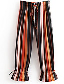 povoljno Ženske hlače-Žene Osnovni Širok kroj Wide Leg Hlače - Prugasti uzorak Visoki struk žuta