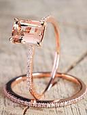 povoljno Haljine za male djeveruše-Žene Band Ring Kubični Zirconia Citrin 2pcs Rose Gold Kamen Pozlaćeni Circle Shape Geometric Shape dame Jedinstven dizajn Elegantno Vjenčanje Dnevno Jewelry Pasijans Emerald Cut simuliran Kreativan