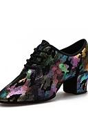 baratos Biquínis e Roupas de Banho Femininas-Mulheres Sapatos de Dança Moderna Pele Salto Salto Grosso Personalizável Sapatos de Dança Roxo / Amarelo