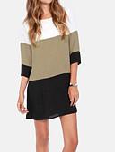 저렴한 블라우스-여성용 컬러 블럭 루즈핏 플러스 사이즈 패치 워크 - 티셔츠 / 블라우스, 베이직 / 스트리트 쉬크 블랙 XXXXL