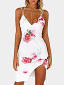 cheap Print Dresses-Women's Daily Going out Slim Bodycon Dress - Floral Print Strap Summer White Navy Blue M L XL