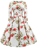 cheap Print Dresses-Women's Daily / Going out Vintage A Line Dress - Floral Print Spring Cotton White L XL XXL