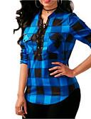 baratos Camisas Femininas-Mulheres Camisa Social Básico Cordões, Listrado Azul e Branco / Preto e Vermelho
