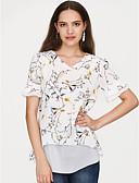 זול חולצה-פוליאסטר של נשים חולצה רופפת - פרחוני, בסיסי