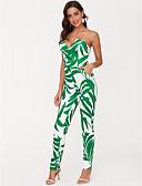 povoljno Ženski jednodijelni kostimi-Žene Izlasci Jumpsuits - Print, Cvjetni print Bez naramenica Olovka