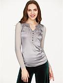olcso Köntösök és pizsamák-V-alakú Női Pamut Póló - Egyszínű
